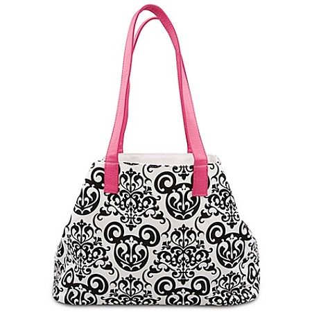 Disney Tote Bag - Damask Wallpaper -- White and Pink