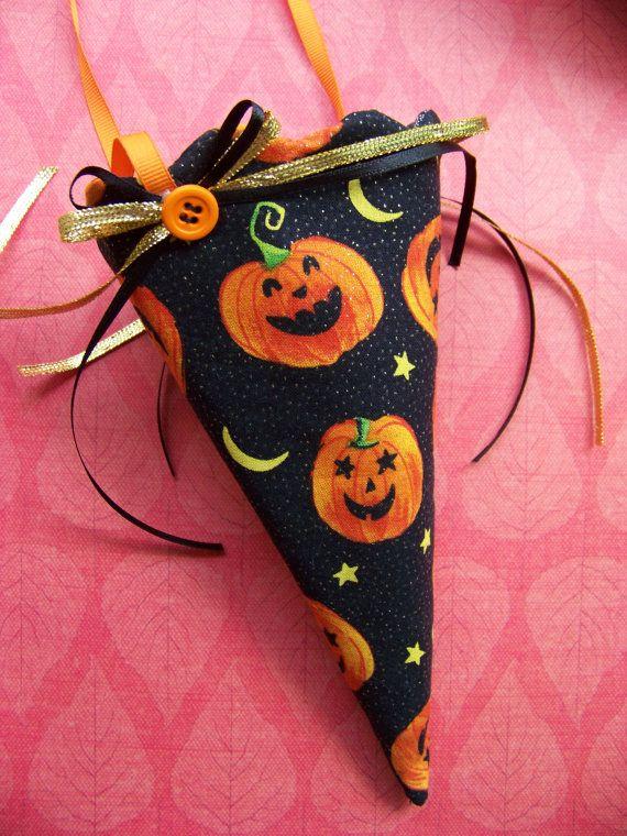 Fabric Candy Cone Pumpkin Halloween By DoesMeadow 850