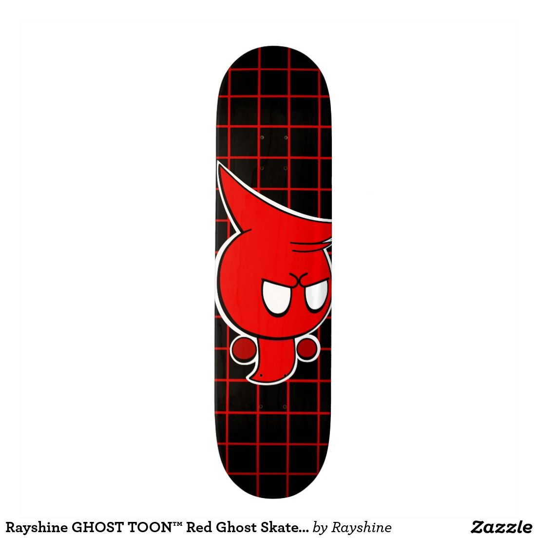 Rayshine GHOST TOON™ Red Ghost Skateboard Deck  #skater #skaterlife #skate #decks #decks4sale #cartoon #ghost #red #black #zazzle #skateboards #shop