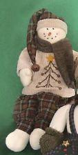 "New Primitive Folk Art Christmas SNOWMAN DOLL Feather Tree Sweater 25"" Tall"