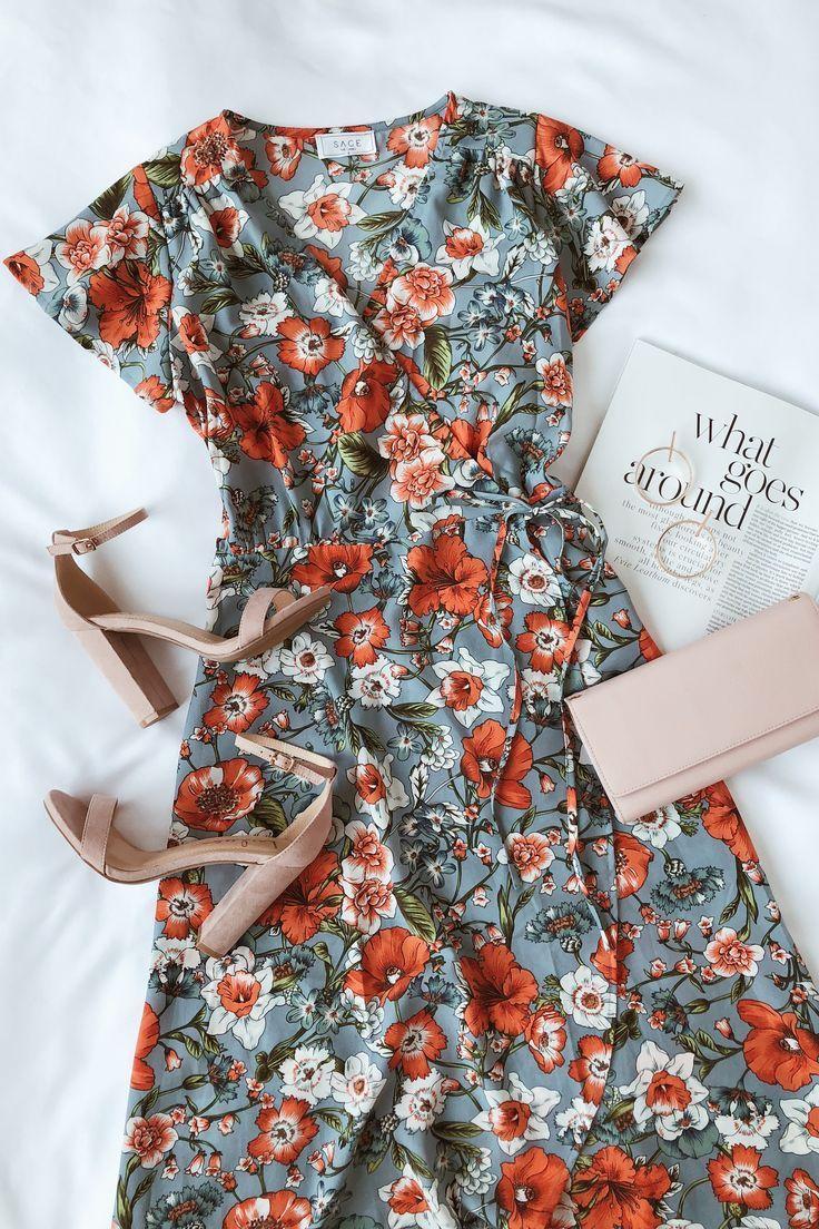 Hazel light blue floral print satin highlow wrap dress