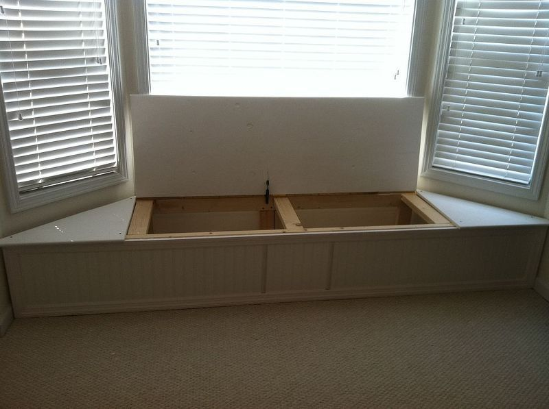bay window storage bench window sill bay window flip top storage bench ideas woodworking projects piano hinge lid made from plywood with bull nose molding attached to front