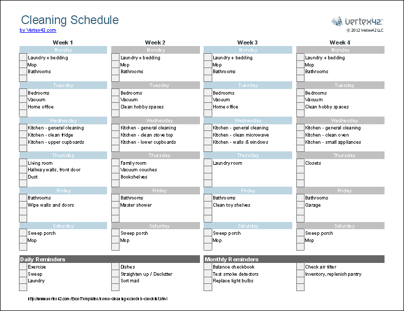 House Cleaning Schedule Screenshot  Free Excel Templates