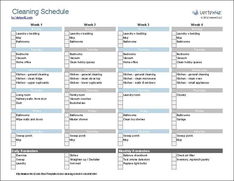 checklist de limpieza  formato excel