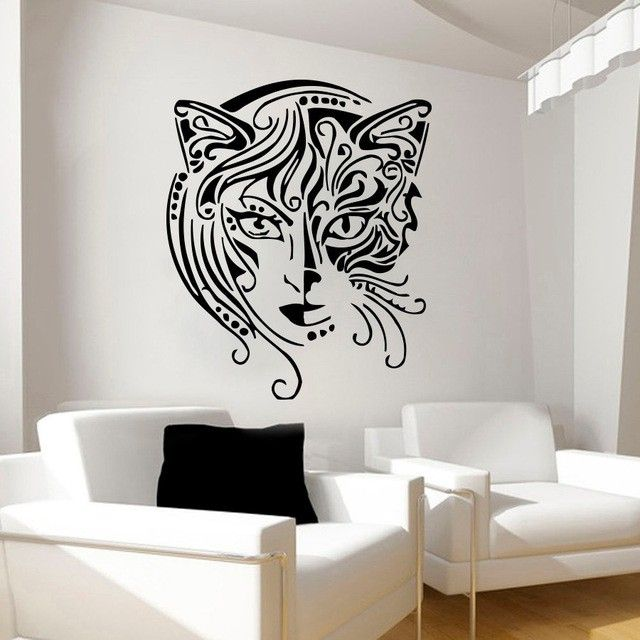 Special Design Art Cat Woman Face Wall Decals Living Room Home Decorative Wall  Sticker Removable Creative Wall Mural Y-715