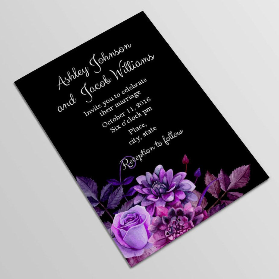 Black And Purple Wedding Invitation Template Gothic Wedding