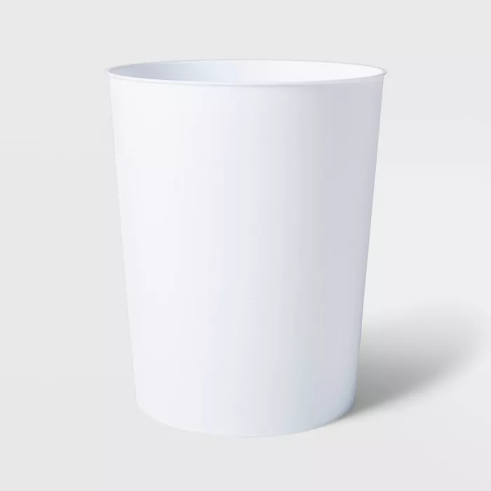solid bathroom wastebasket white  room essentials