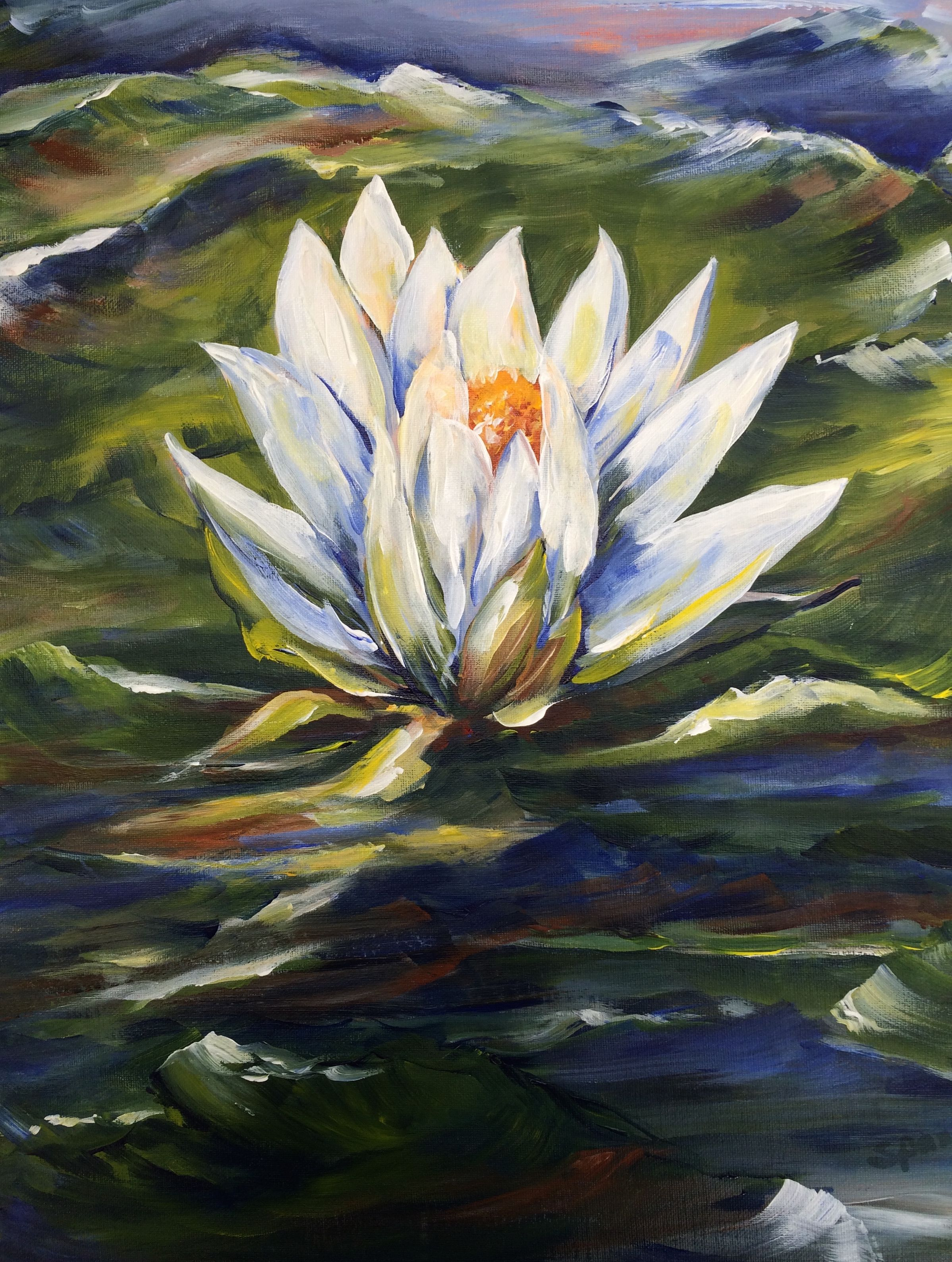 """Acrylic on board 16""""x20"""" $100. """"Water Lily""""by pat@patspalette.com"""