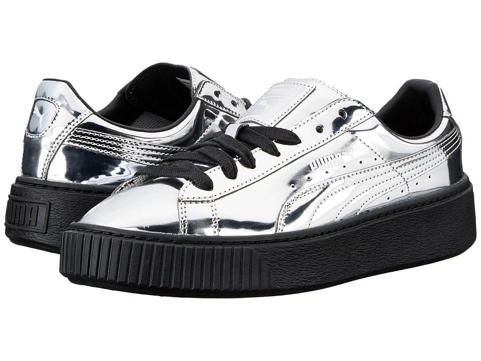 Women's Basket Metallic Platform Sneakers In Silver