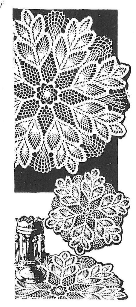 CROCHET PATTERN 7162 Vintage Crochet Pattern Pineapple Doily Designs ...