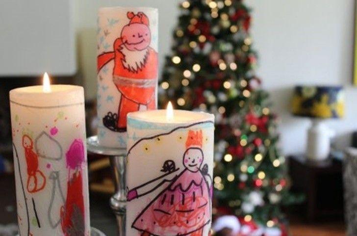 Velas decoradas por ni os para navidad manualidades con - Porta velas navidenas ...