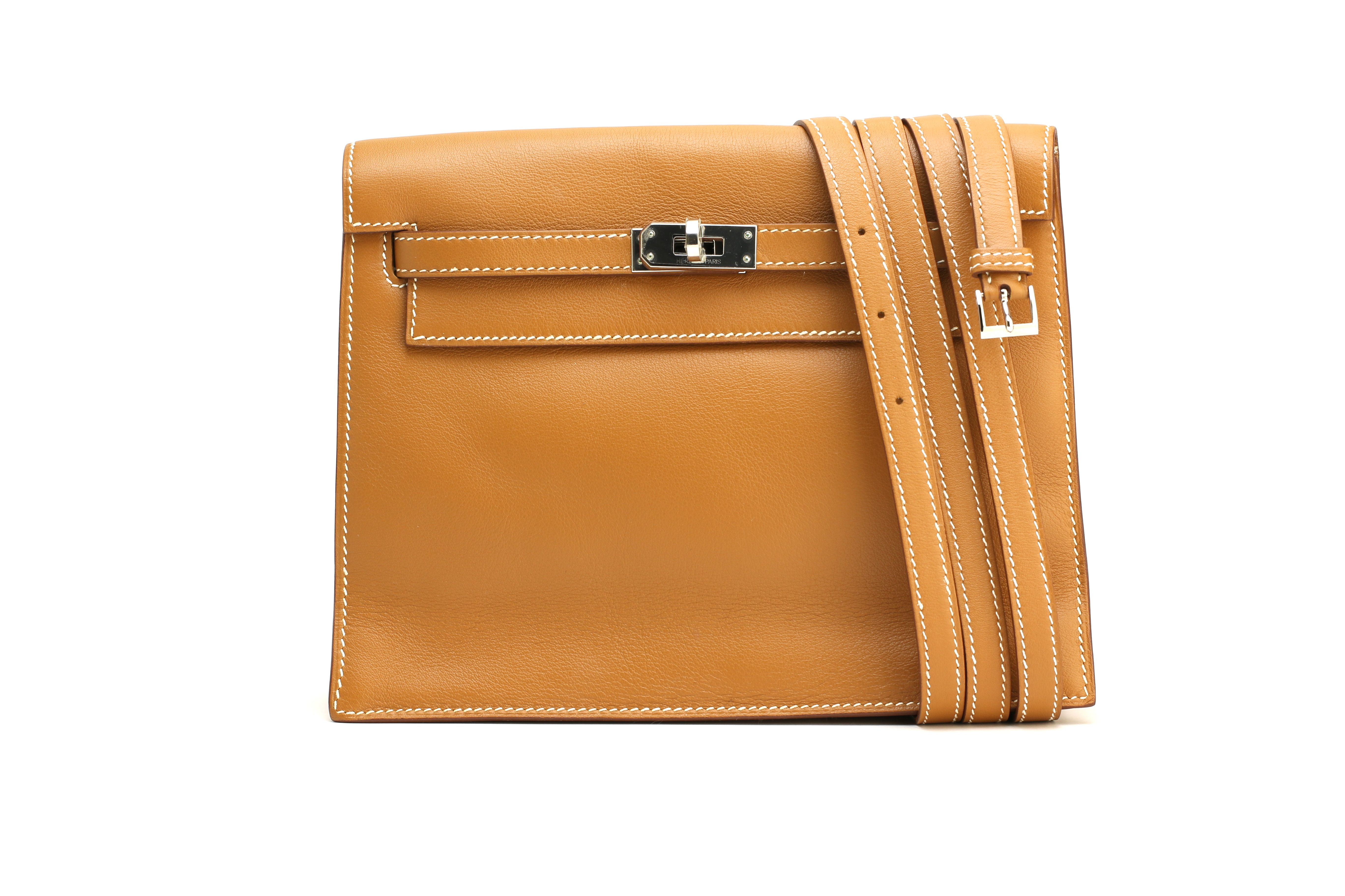 bf013d9780c8  Hermes Hermes Kelly Danse in a stunning gold swift leather with palladium  hardware.