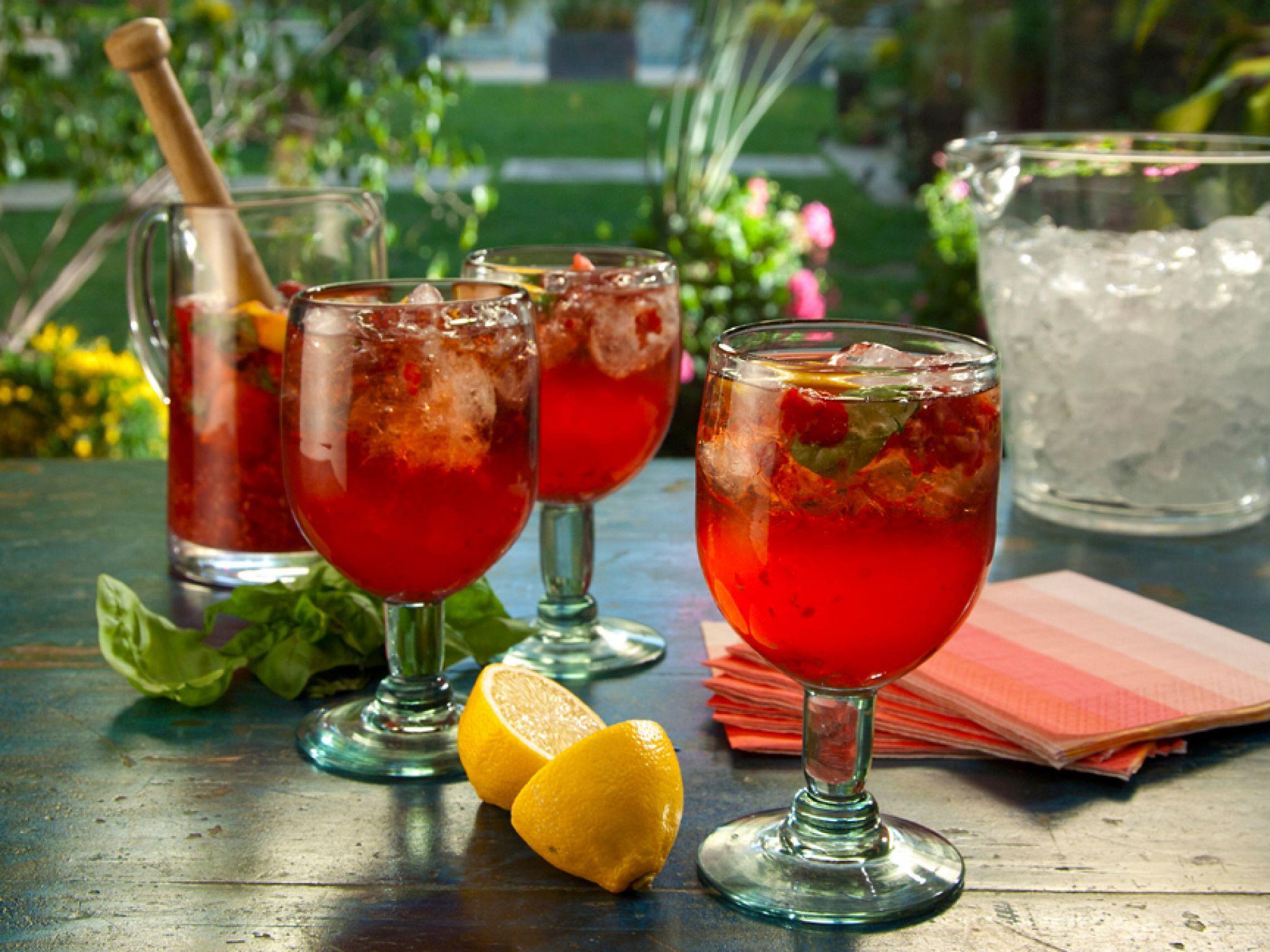 Raspberry Basil Limoncello Cocktail Recipe Limoncello Cocktails Food Network Recipes Summer Drink Recipes