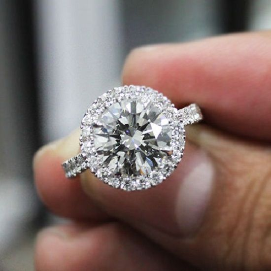 2.40 Ct. Natural Round Cut Halo Pave Diamond Engagement Ring #engagementring