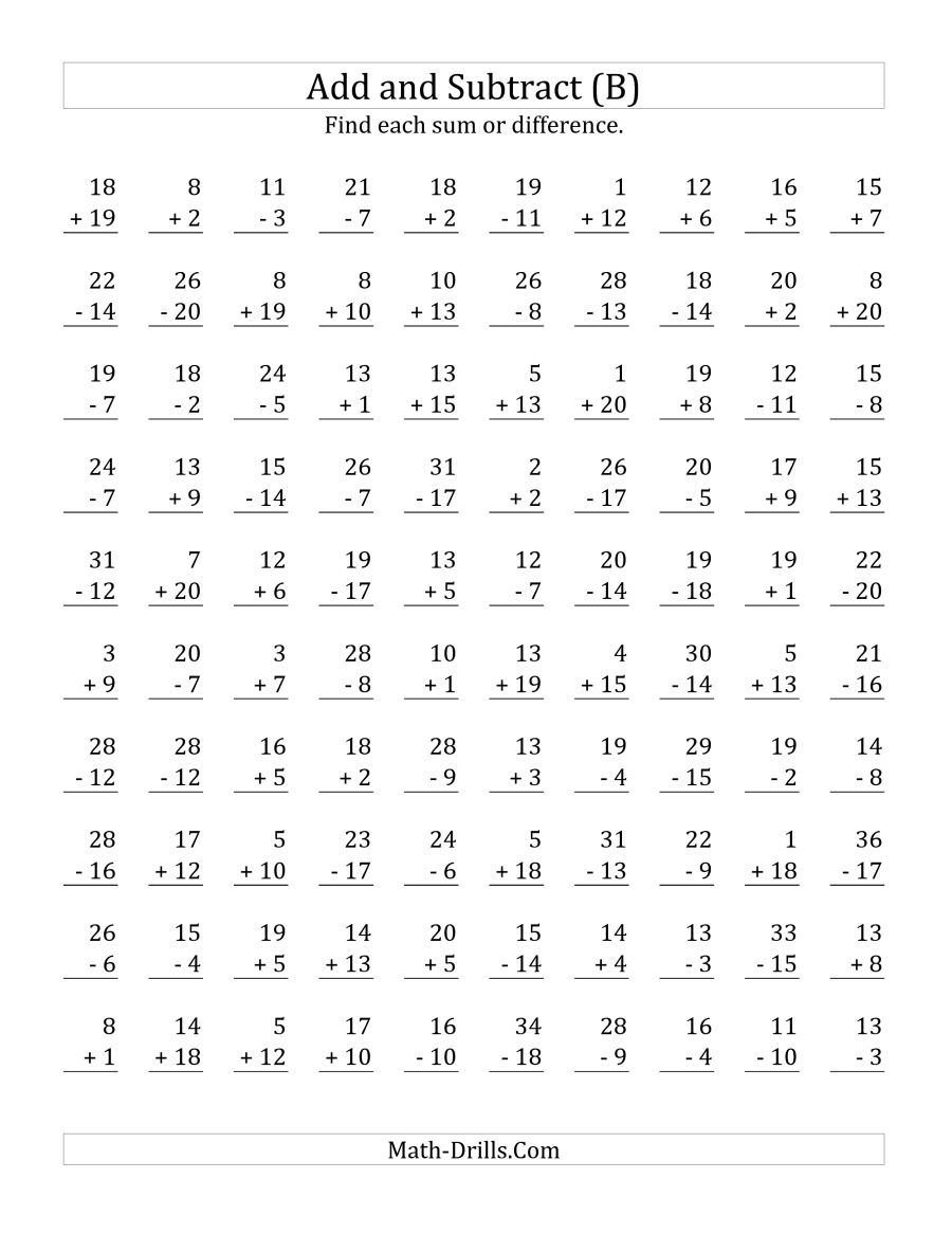 The Adding And Subtracting With Facts From 1 To 20 B Math Worksheet Math Fact Worksheets Addition And Subtraction Worksheets Subtraction Worksheets