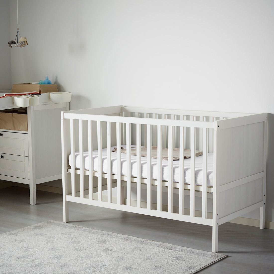 "SUNDVIK Crib white 27 1/2x52 "" in 2020 Ikea sundvik"