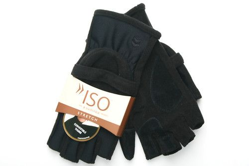 Black Isotoner Hybrid Convertible Fingerless Gloves for Women
