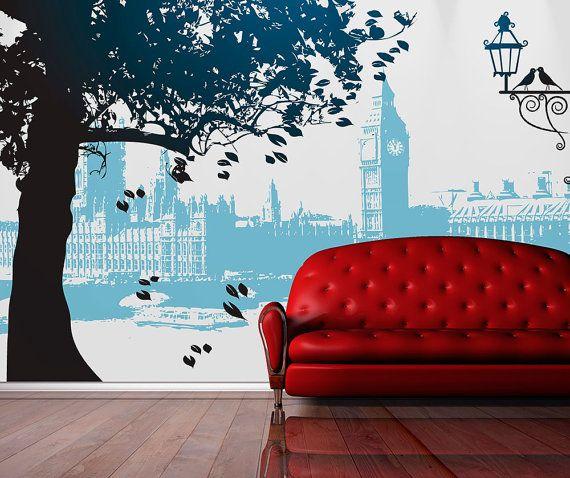 London Art Wall Mural Repositionable Adhesive Fabric Self