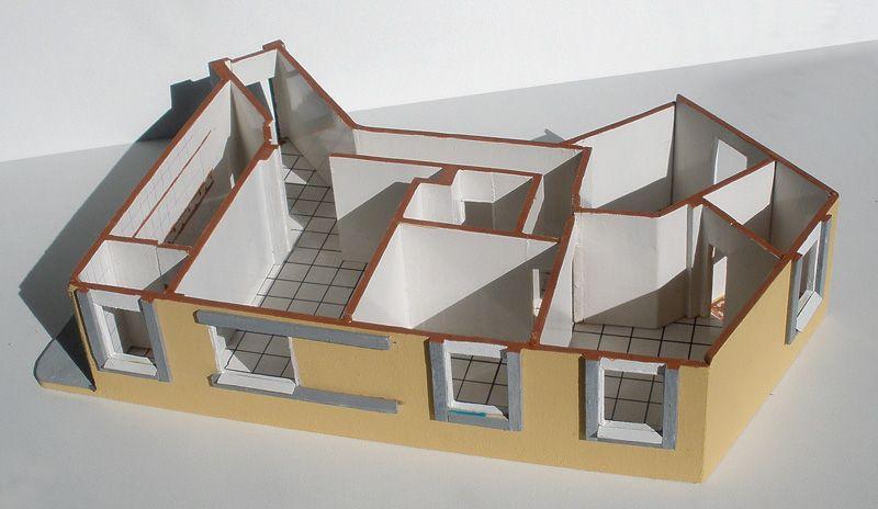 Resultado de imagen para maquetas de casas de carton por for Casas pintadas por dentro