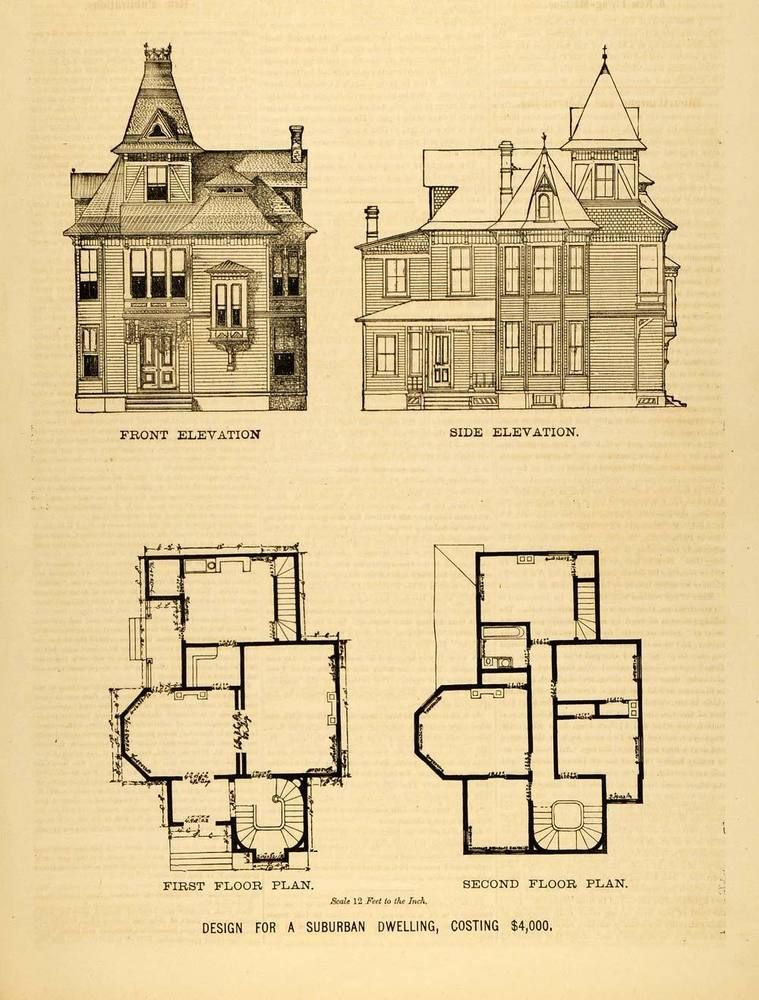 1878 print victorian suburban house architectural design for Historic victorian floor plans