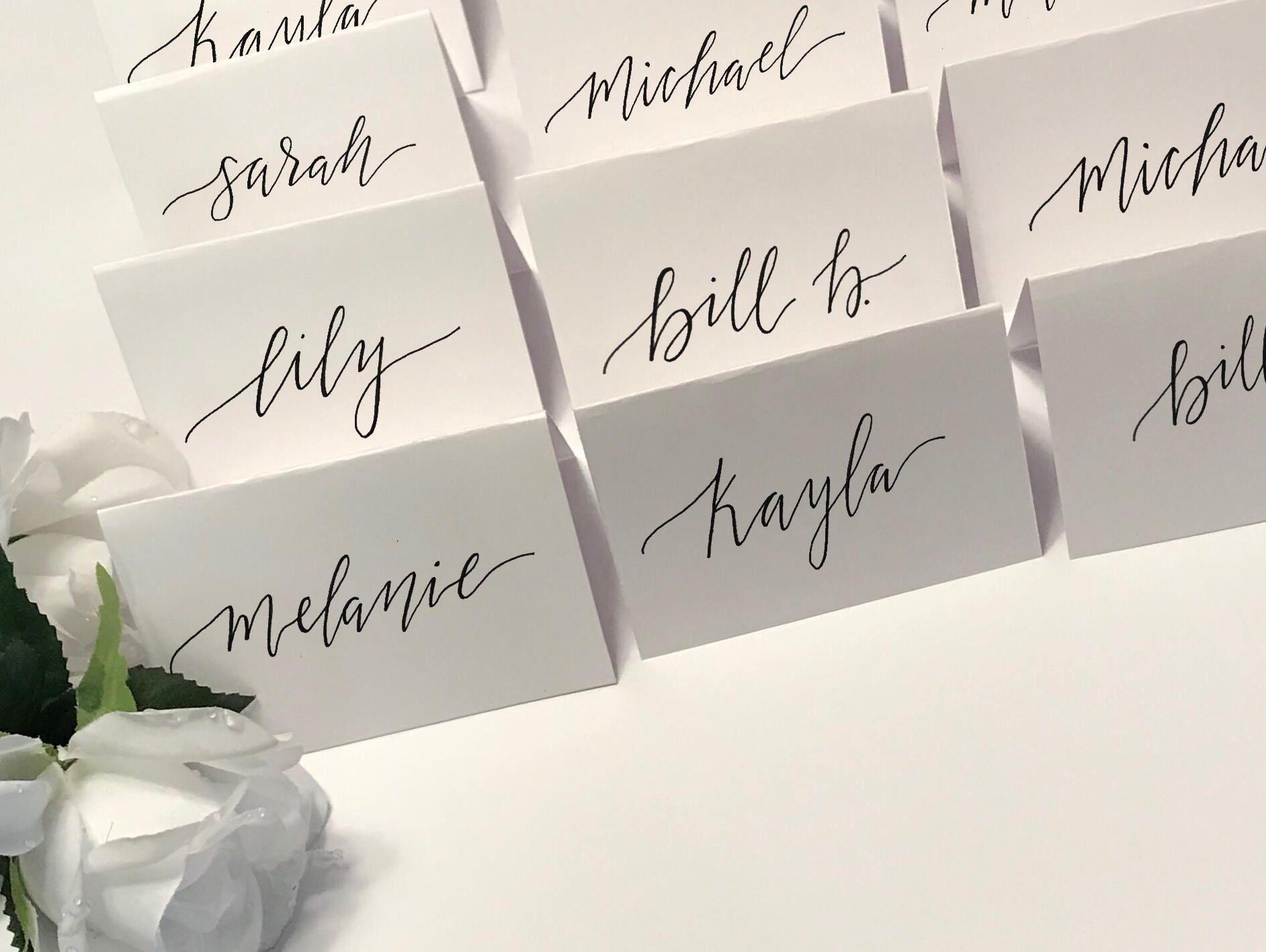 wedding name card calligraphy  wedding name cards