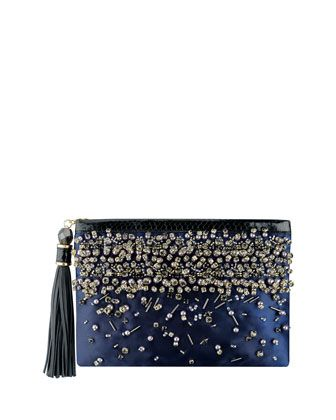 204f9093fe3b Rafe  Celiaclutch  navy  beaded with snakeskin trim available  neimanmarcus  online