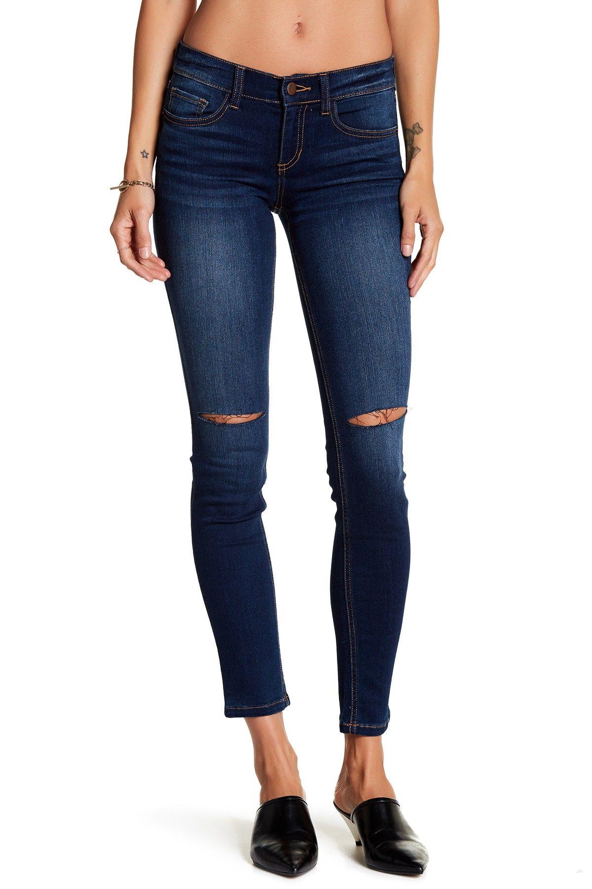 Low Rise Slit Knee Skinny Jean