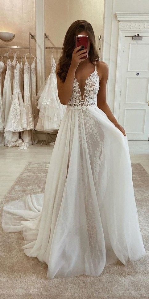 Spaghetti Straps Boho Lace Wedding Dress
