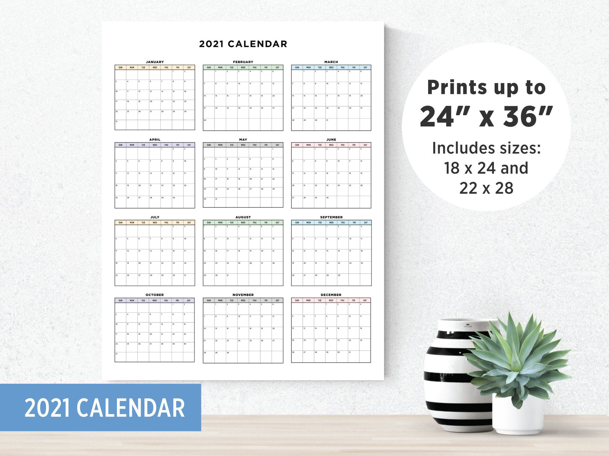 Printable 2021 Calendar Large Calendar At A Glance Etsy In 2020 At A Glance Calendar Print Calendar Large Calendar