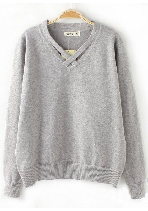 Grey Plain Round Neck Loose Thin Knit Sweater | Rounding and Gray