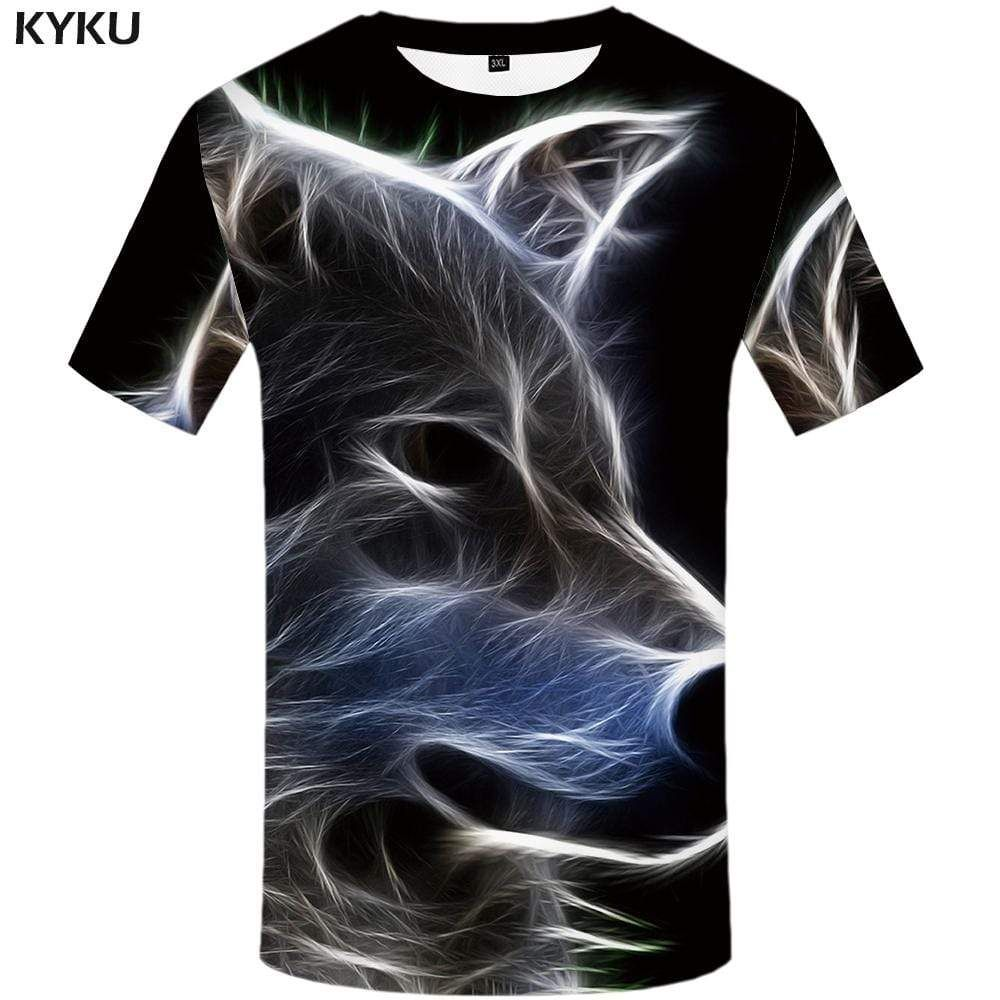 Photo of KYKU Wolf T shirt Men Animal T shirts Funny Magic Tshirt Anime Fantasy T-shirt 3d Harajuku Tshirts Print Mens Clothing Graphic – 3XL