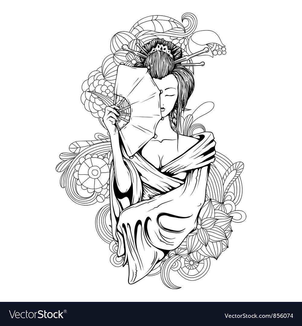 Geisha With Floral Vector Image On Vectorstock Geisha Tattoo Design Geisha Tattoo Japanese Tattoo Art