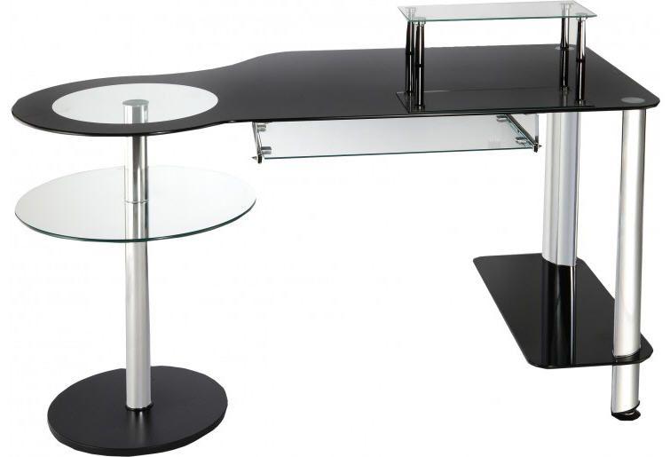 Bureau informatique verre noir et acier chromé meubles pas cher