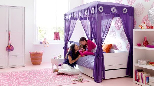 Room  Purple canopy bed for teen girl bedroom