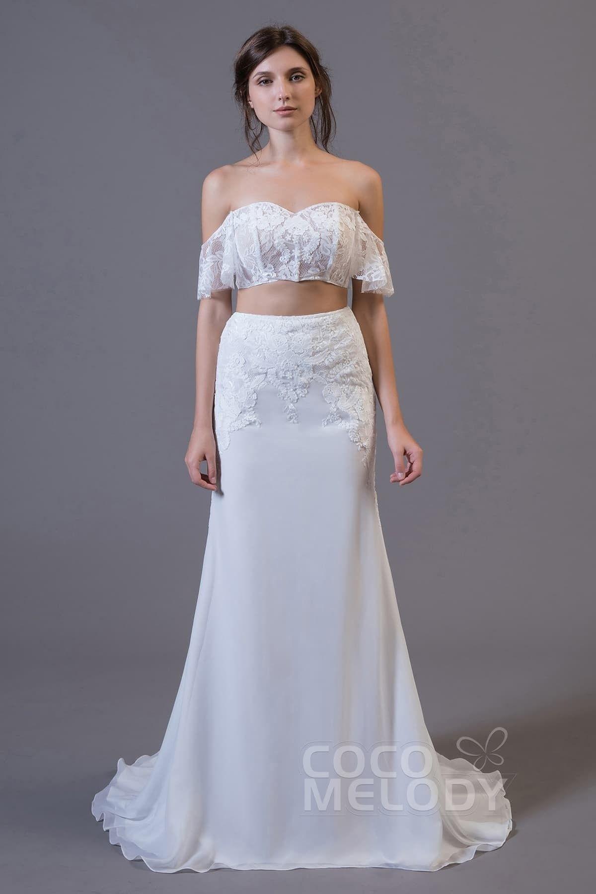 Crop top sweepbrush train tulle and chiffon wedding dress ld