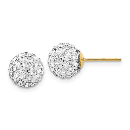 8mm Crystal Ball Earrings with a 14k Yellow Gold Post