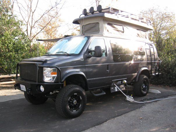Sweet!! Sportsmobile pop-top with Aluminess roof rack, front bumper and ladder