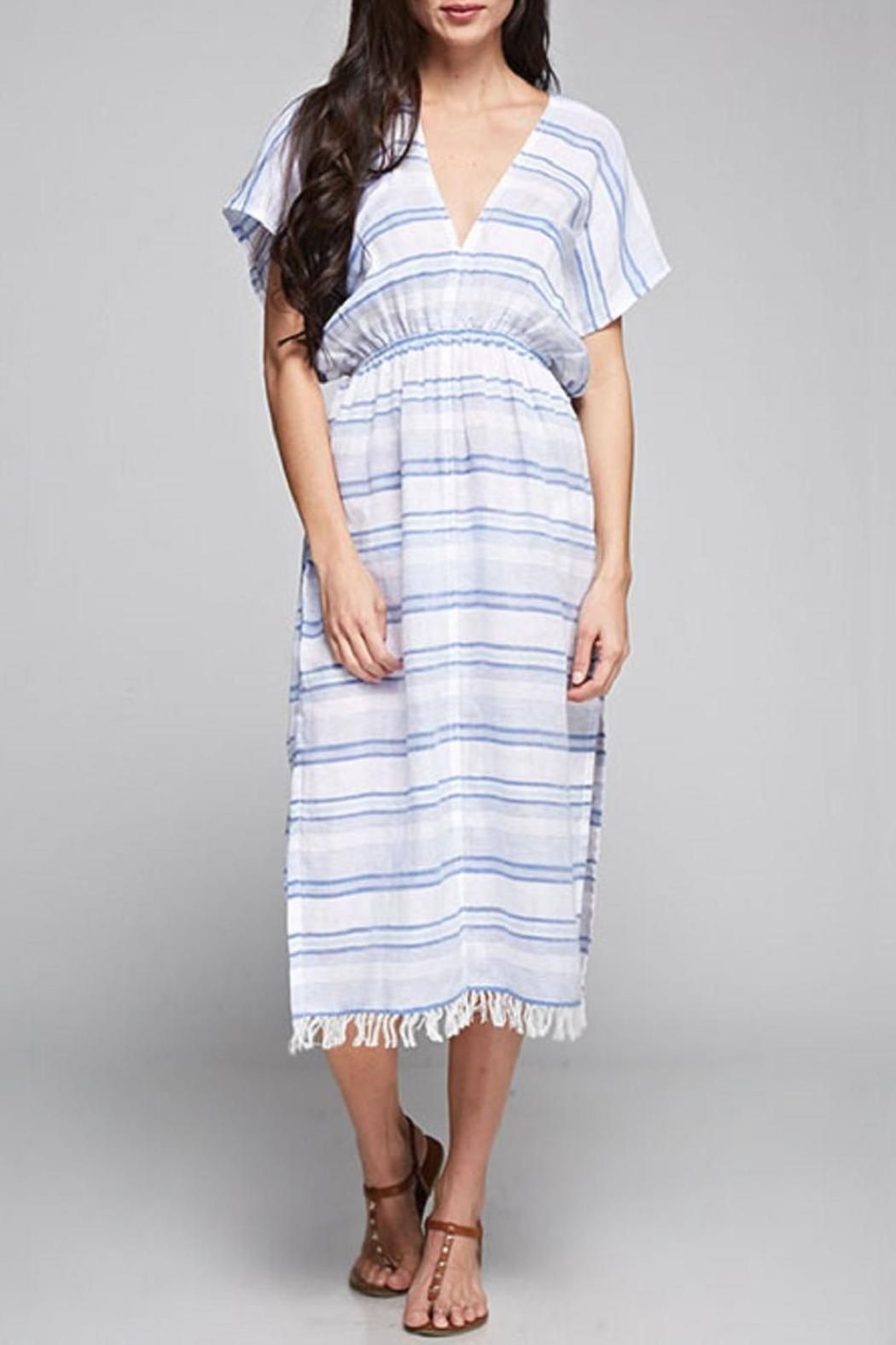 This V-Neck long cotton caftan styled dress features small side slits and a fringed hem   V-Neck Dress by Lovestitch. Clothing - Dresses - Casual Arizona