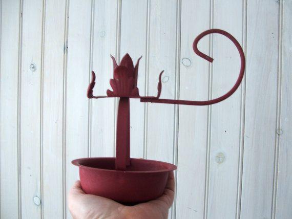Vintage Red Painted Metal Candleholder by lookonmytreasures