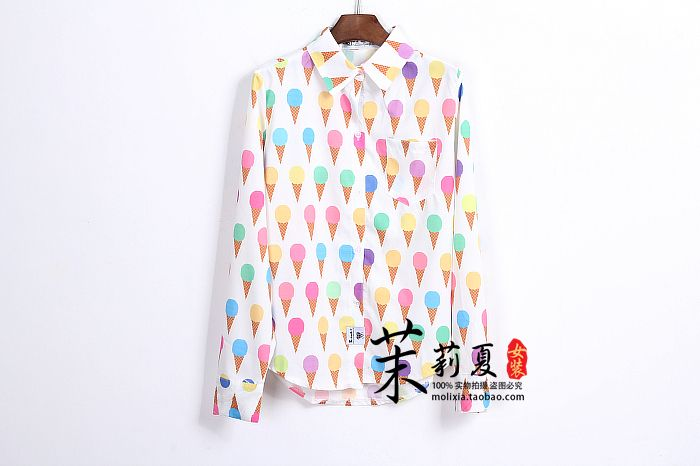 2013 ice cream doodle HARAJUKU full body cartoon print pattern stripe thin long sleeve Shirts GIRL WOMEN free shipping-inBlouses & Shirts from Women's Clothing & Accessories on Aliexpress.com | Alibaba Group