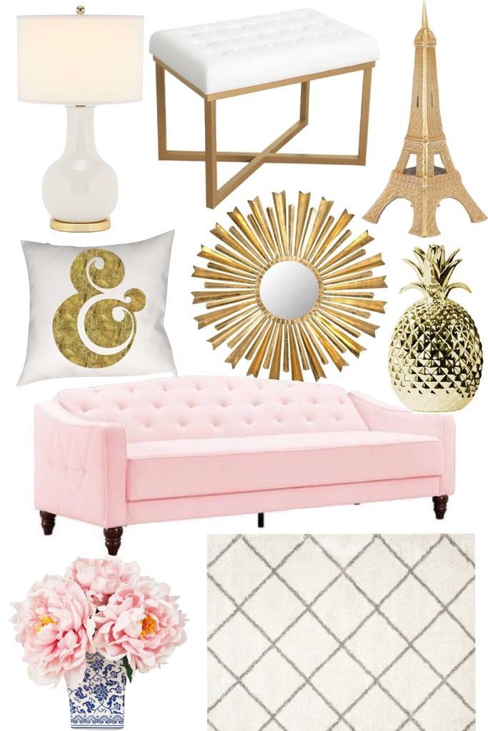 Pink tufted sofa, white and gold home decor, pink peonies, eiffel tower, paris lamp, ampersand pillow, shag rug - click through for details!