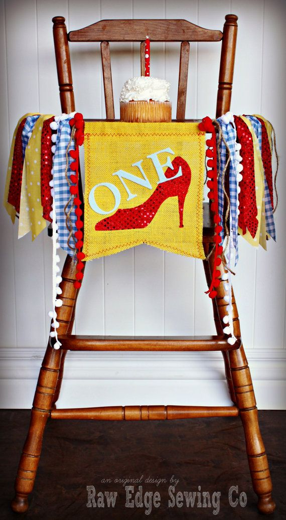 Age For High Chair Pier 1 Chairs Wizard Of Oz Birthday Highchair Banner Party By Rawedgesewingco