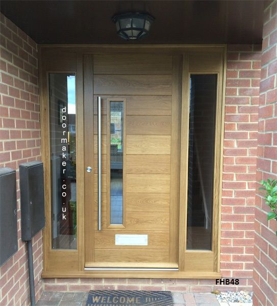 Contemporary Oak Door And Sidelights House Exterior