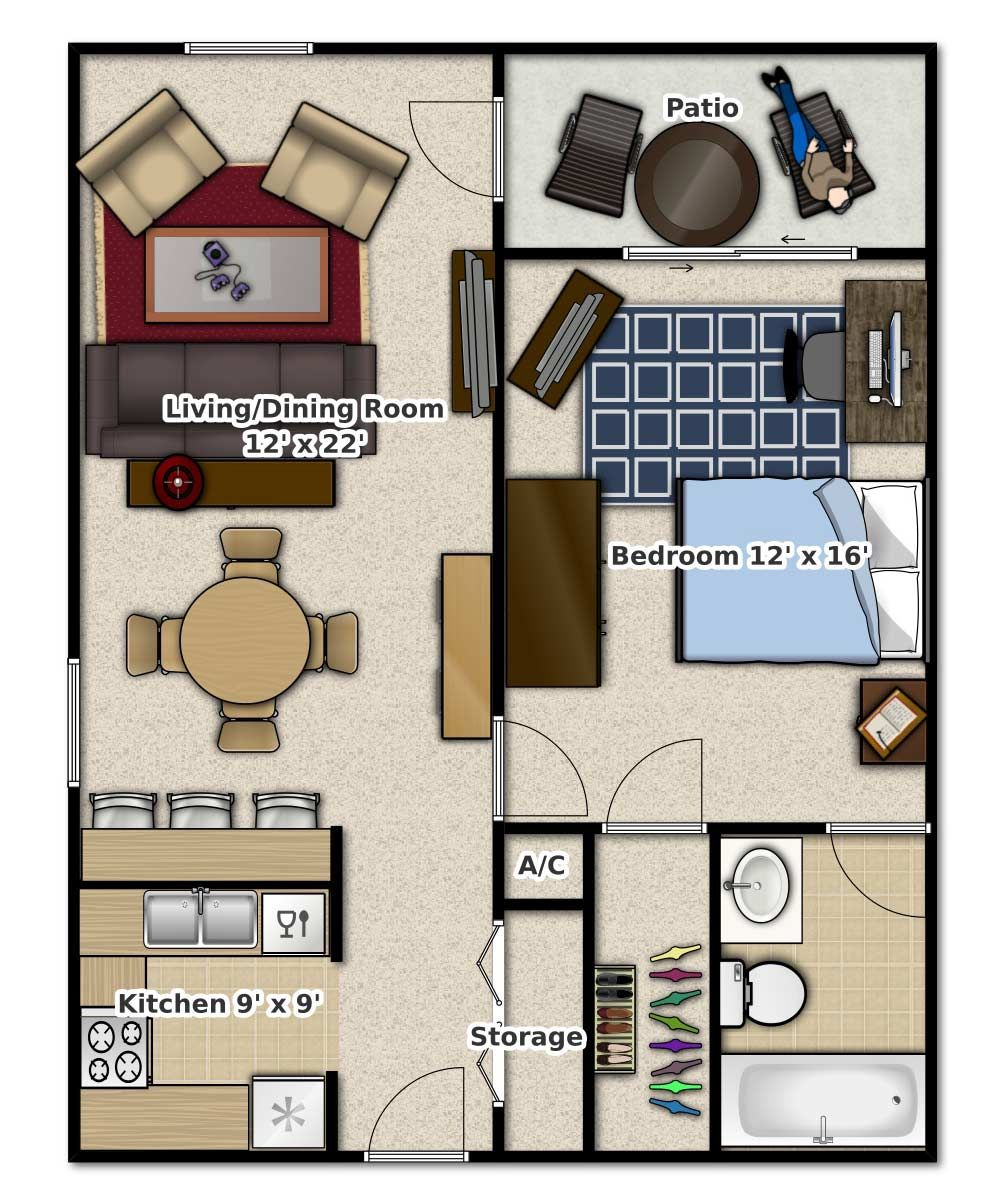 1 Bedroom, 1 Bathroom. This is an apartment floor plan ...