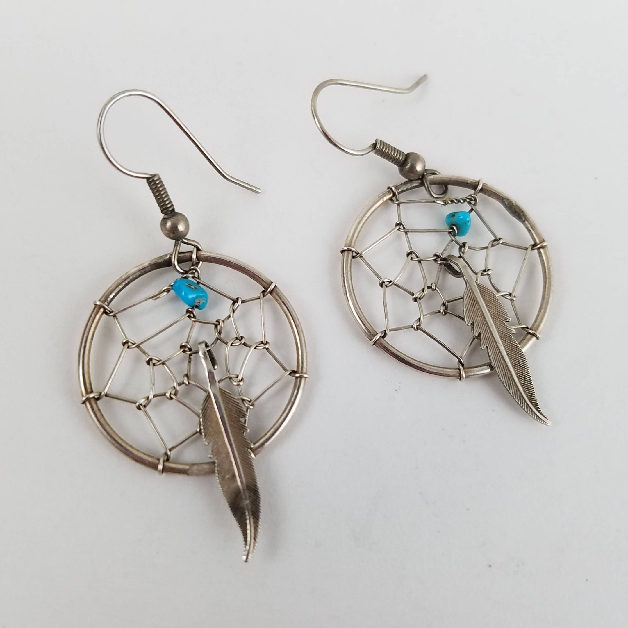 Sterling Dream Catcher Earrings For Her Feather Earrings Boho Earrings  Native American Jewelry Turquoise Earrings Ow2581