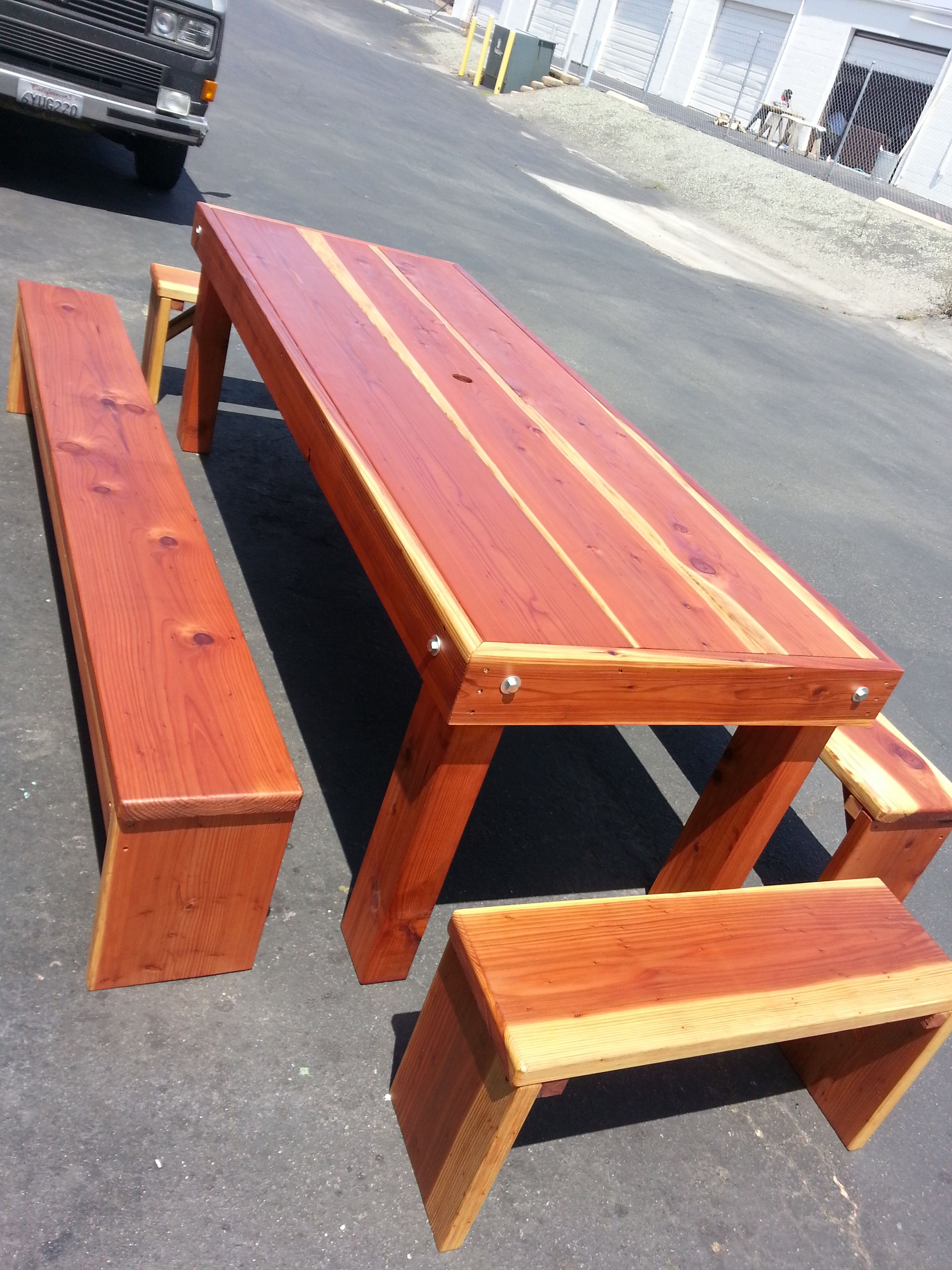 8 redwood farmhouse style table w4 separate benches