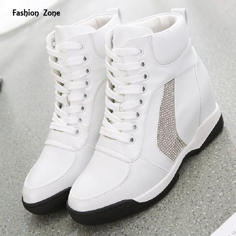 High Women Walk Sneakers Autumn Heel Shoes Casual Wedge Increased Lace Top Uk