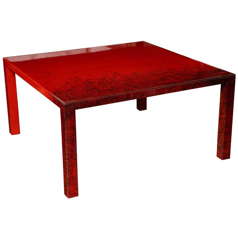 Contemporary Red Laquered Coffee Table Square Leg Red Coffee