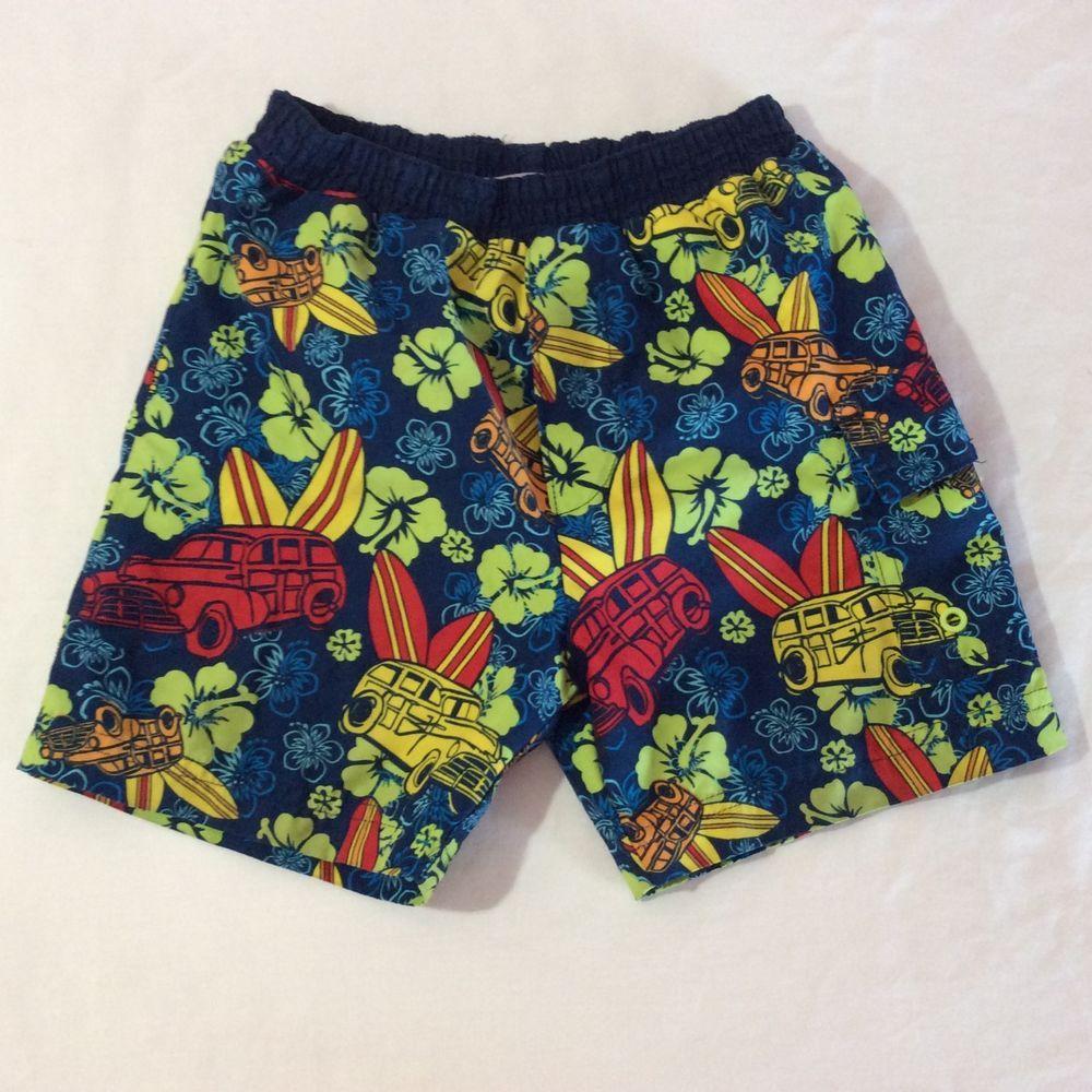 83adb5da89 Carters Swim Trunks Shorts Boys Size 3T Blue Hawaiian Print Lined Side  Pocket #Carters #