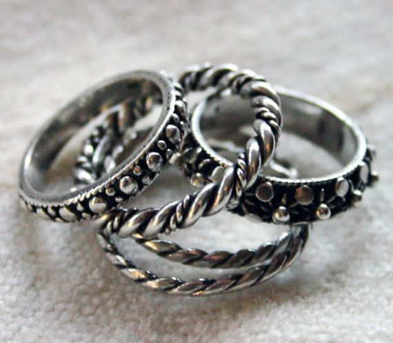 Unique STACKABLE Silver Rings by BazaarCollections on Etsy, $21.00